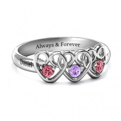 Herzbube mit zwei Damen Dreifacher Herz Edelstein Ring