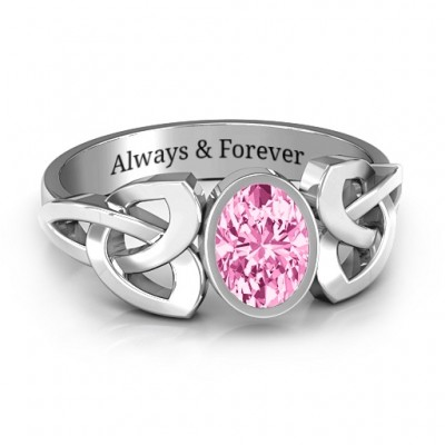 Trinity Knot Ring mit Bezel Set Oval Stein
