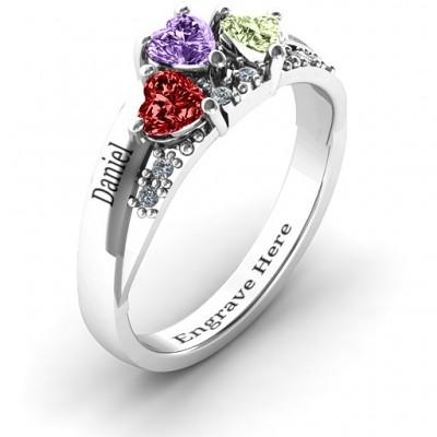Tripartite Herz Edelstein Ring mit Akzenten