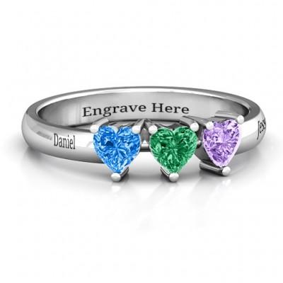 Dreifacher Herz Stein Ring