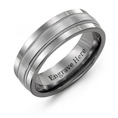 Tungsten Männer Grooved Center Tungsten Band Ring