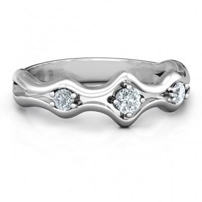 Wellenförmige Trio Ring