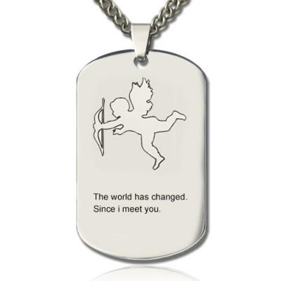 Amor Man Dog Tag Name Halskette