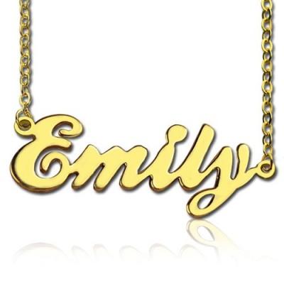 Cursive Typenschild Halskette 18 karätigem Gold überzogen