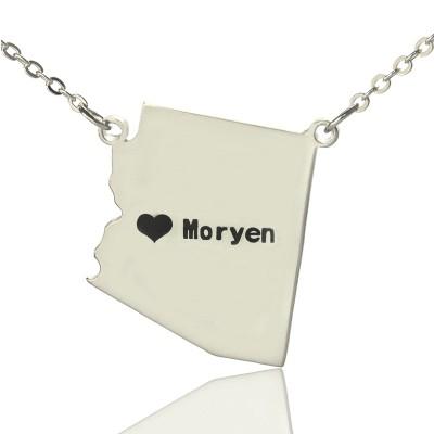 Individuelles Arizona State geformte Halskette mit Herz Namen Silber