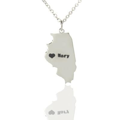 Personalisierte Illinois State geformte Halskette mit Herz Namen Silber
