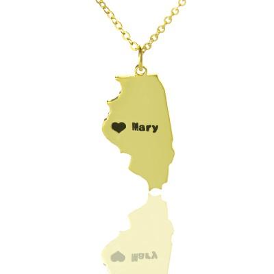 Benutzerdefinierte Illinois State geformte Halskette mit Herz Namen Gold überzogen