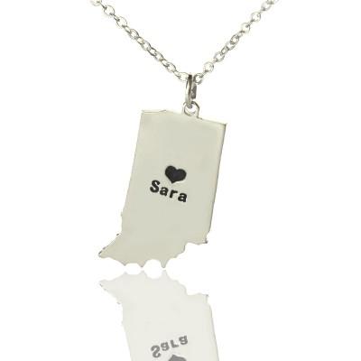 Benutzerdefinierte Indiana State geformte Halsketten mit Herz Namen Silber