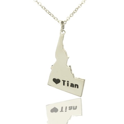 Die Idaho State USA Karte Halskette mit Herz Namen Silber