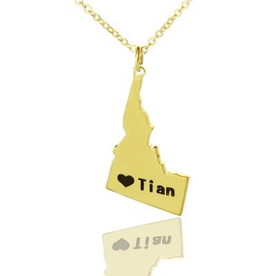 Die Idaho State USA Karte Halskette mit Herz Namen Gold überzogen
