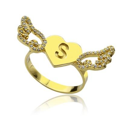Angel Wings Herz Ring mit Birthstone Initial 18 karätigem Gold überzogen
