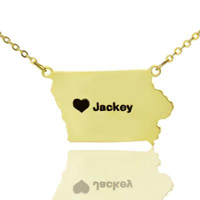 Iowa State USA Karte Halskette mit Herz Namen Gold überzogen