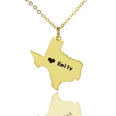 Texas State USA Karte Halskette mit Herz Namen Gold überzogen