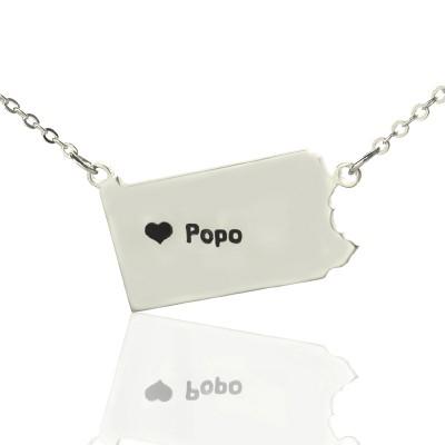 Personalisierte Pennsylvania State USA Karte Halskette mit Herz Namen Silber