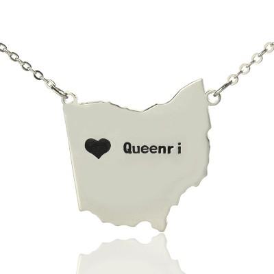 Individuelles Ohio State USA Karte Halskette mit Herz Namen Silber