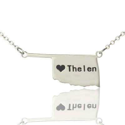 Amerika Oklahoma State USA Karte Halskette mit Herz Namen Silber