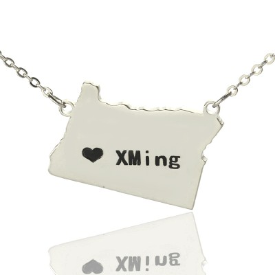 Individuelles Oregon State USA Karte Halskette mit Herz Namen Silber