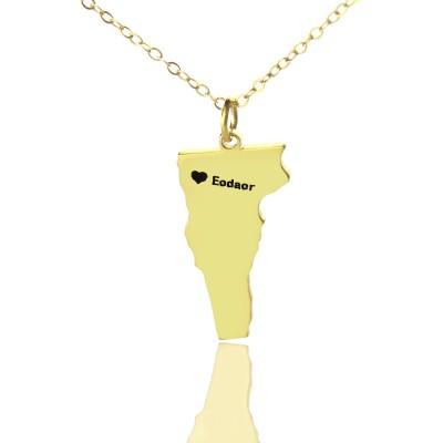 Benutzerdefinierte Vermont State USA Karte Halskette mit Herz Namen Gold überzogen