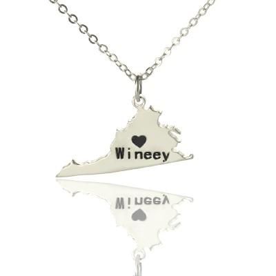 Virginia State USA Karte Halskette mit Herz Namen Silber