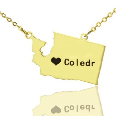 Washington State USA Karte Halskette mit Herz Namen Gold überzogen