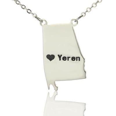 Individuelles Alabama State USA Karte Halskette mit Herz Namen Silber