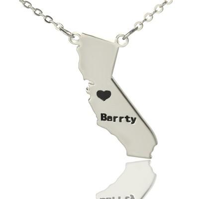 California State geformte Halskette mit Herz Namen Silber