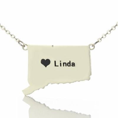 Connecticut State geformte Halskette mit Herz Namen Silber