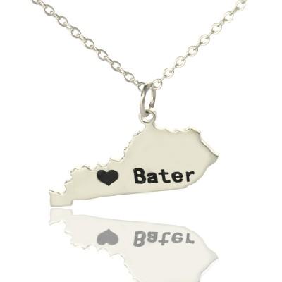 Benutzerdefinierte Kentucky State geformte Halsketten mit Herz Namen Silber