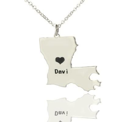 Benutzerdefinierte Louisiana State Shaped Halskette mit Herz Namen Silber