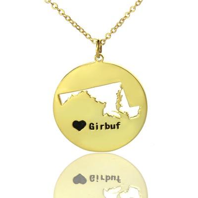 Individuelles Maryland Disc Staat Halskette mit Herz Namen Gold überzogen