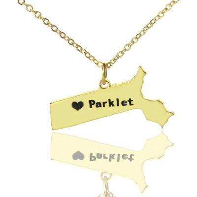Massachusetts State Shaped Halskette mit Herz Namen Gold überzogen