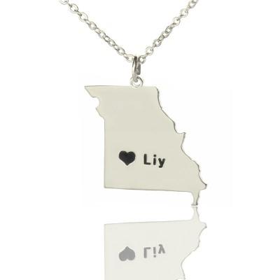 Benutzerdefinierte Missouri State Shaped Halsketten mit Herz Namen Silber