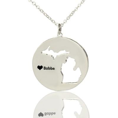 Benutzerdefinierte Michigan Disc Staat Halskette mit Herz Namen Silber