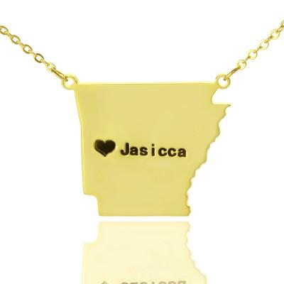 Benutzerdefinierte AR State USA Karte Halskette mit Herz Namen Gold überzogen
