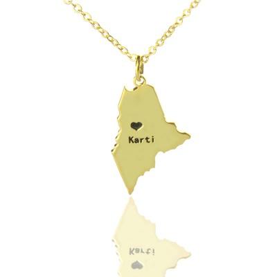 Benutzerdefinierte Maine State geformte Halskette mit Herz Namen Gold überzogen