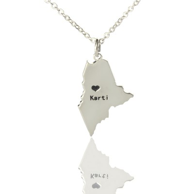Benutzerdefinierte Maine State geformte Halsketten mit Herz Namen Silber