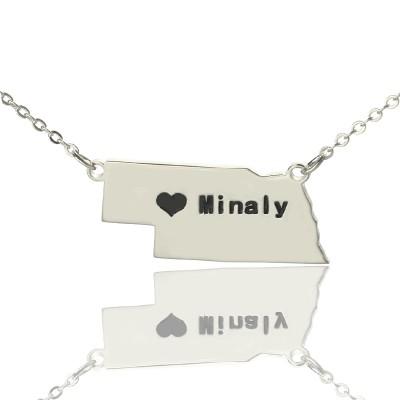 Individuelle Nebraska State Shaped Halskette mit Herz Namen Silber