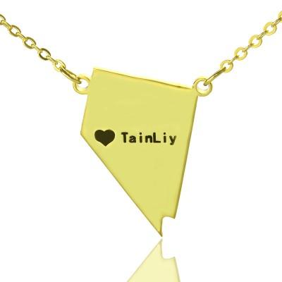 Benutzerdefinierte Nevada State geformte Halskette mit Herz Namen Gold überzogen
