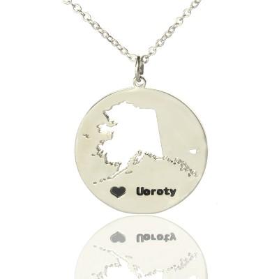 Benutzerdefinierte Alaska Disc Staat Halskette mit Herz Namen Silber