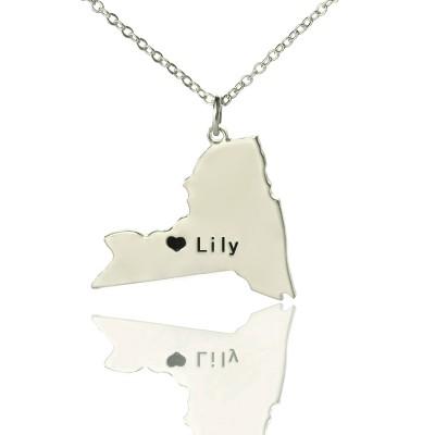 Personalisierte NY State geformte Halsketten mit Herz Namen Silber