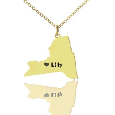 Personalisierte NY State geformte Halskette mit Herz Namen Gold überzogen