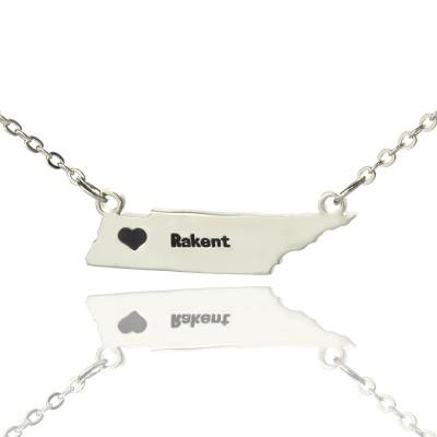 Individuell Tennessee State geformte Halskette mit Herz Namen Silber