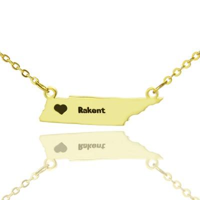 Individuell Tennessee State geformte Halskette mit Herz Namen Gold überzogen