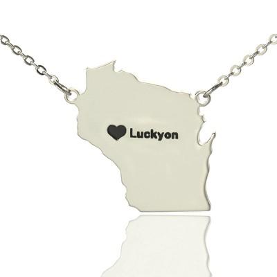 Individuelle Wisconsin State geformte Halskette mit Herz Namen Silber