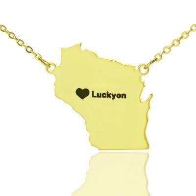 Individuelle Wisconsin State geformte Halskette mit Herz Namen Gold überzogen