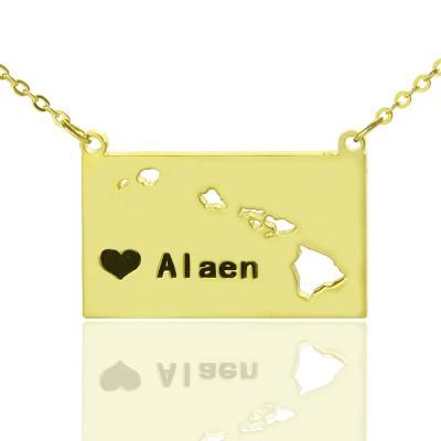 Benutzerdefinierte Hawaii State geformte Halskette mit Herz Namen Gold überzogen