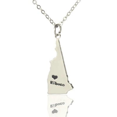 Benutzerdefinierte Staat New Hampshire Shaped Halskette mit Herz Namen Silber