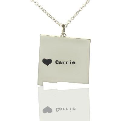 Benutzerdefinierte New Mexico State geformte Halskette mit Herz Namen Silber