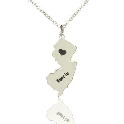 Benutzerdefinierte New Jersey State geformte Halskette mit Herz Namen Silber