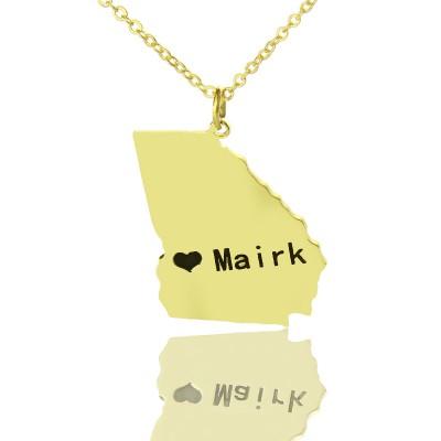 Individuelles Georgia State geformte Halskette mit Herz Namen Gold überzogen